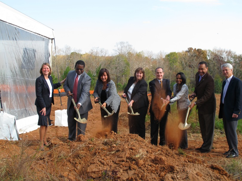 from left, National Church Residences Senior Vice President Michelle Norris, Lou Walker Senior Center Director Darryl Blackwell, DeKalb Medical at Hillandale Administrator Susan Harris, Georgia Department of Community Affairs Office Director Laurel Hart, NorSouth President Dave Dixon, National Church Residences Project Leader Sarah-Elizabeth Langford, National Board Residences board member Eric Borders and Foley Design CEO Bill Foley
