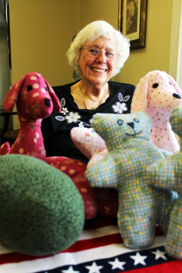 "Mill Run resident Delilah ""Dee"" Beeman is sewing stuffed animals that she will give out as gifts to the facility's Memory Care patients"