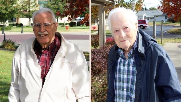 George Earll, left, and Hal Tripp, right, live in National Church Residences' Bristol Village today, but 70 years ago both men few bombing missions in World War II.